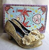 IRREGULAR CHOICE FLORAZZLE CREAM & GOLD SHOES BNIB SIZE 8 GREAT FOR A PARTY
