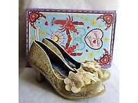 IRREGULAR CHOICE FLOARAZZLE CREAM & GOLD LOW HEEL SHOES BRAND NEW IN BOX BOX SIZE 8 WEDDING SHOES