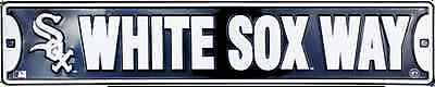 "CHICAGO WHITE SOX STREET SIGN 24"" X 5"" EMBOSSED METAL WHITE SOX WAY MLB MAN CAVE"