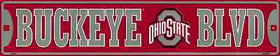 Ohio State Buckeyes Metal Street Sign 24  X 5  Buckeye Blvd Boulevard Game Room