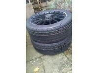 "15"" black alloys with tyres x 4"