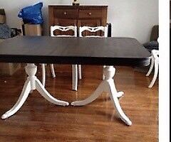 Dining room table & chairs (Antique - refinished)
