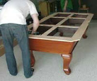 RELOCATE 3 PIECE SLATE 4 X 8 POOL TABLE **ALL TYPES OF SERVICE *
