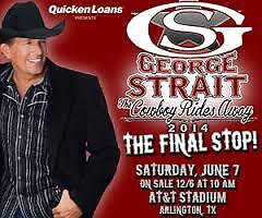 2 GEORGE STRAIT TIX---AT&T Stadium, Dallas, TX 06/07/14, SEC 222, Row 12