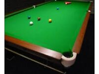 12ft Snooker table with base, some scruffs on woodwork, can be touched up, little bit of tidying