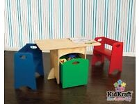 Kid Kraft table, chairs and storage