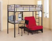 Loft bed with desk and folding futon chair