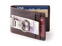 Money clip leather wallet with bottle opener