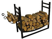 Firewood rack with kindling holder