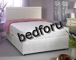 Divan Double Bed with reversible mattress.