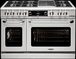 "https://aniks.ca Capital COB484B2 48"" Self Clean  Dual Fuel Range 6  Open Burners  + 12"" BBQ, 1 8K BTU Small Pan Burner"