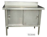 STAINLESS STEEL WORK TABLES W/ENCLOSED BASES & BACKSPLASH