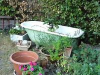 Cast Iron Bath - Sage Green in Colour