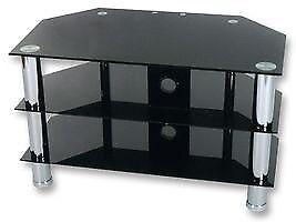 BLACK GLASS WITH SILVER LEGS 3 SHELF TV / DVD / SKY STAND