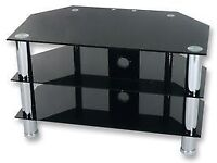 BLACK GLASS 3 TIER SHELF TV / DVD STAND GREAT FOR THE LIVING ROOM