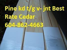 Pine STK and clear tongue and groove v-jnt kd stk smooth face