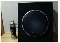 12 inch JL W6V2 SUBWOOFER with CUSTOM BOX AND  CAPACITER