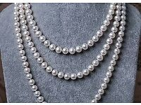 LONG FAUX PEARL ROPE STRING BEAD NECKLACE