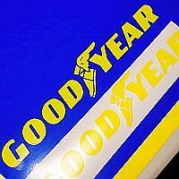 Goodyear Yellow Decals 10 (25.4cm) Set Of 2 Racing Stickers Competition Slicks