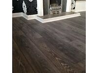 8mm grey laminate flooring with underlay beading door bar 20m2 5x4 £320 Grey