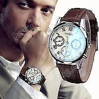 watch mens yazole with brown leather strap new in box