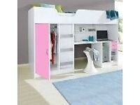 High Bed White with pink Door and Drawer