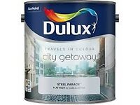 4 x 2.5l tins of DULUX flat matt STEEL PARADE emuslion paint