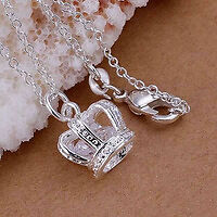 Beautiful STERLING SILVER Crown necklace with floating jewel