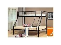⚡️⚡️SPECIAL OFFER⚡️⚡️ DOUBLE BOTTOM & SINGLE TOP STRONG QUALITY TRIO METAL BUNK BED
