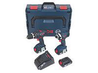 Bosch 0615990GU8 18V 1.5Ah Li-Ion Twin Pack Combi Drill & Impact Driver (2525H