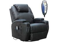 FoxHunter Bonded Leather Massage Recliner Chair Cinema Sofa Armchair