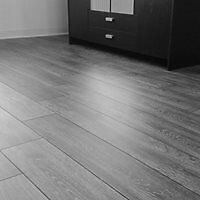 Fully fitted 8mm grey laminate flooring with underlay beading door bar 20m2 5x4 £320