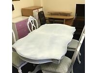 shabby chic twin pedestal table with 4 chairs extends if needed finished in powder blue