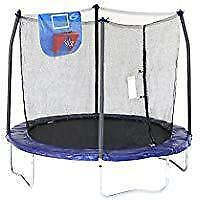 New Skywalker Trampolines Jump N' Dunk Trampoline, Safety Enclosure, Basketball Hoop, Blue, 8-Feet, - DI4 and PU2