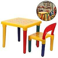 Kids Table and Chair Set ABC Alphabet Childrens Plastic Toddlers Child