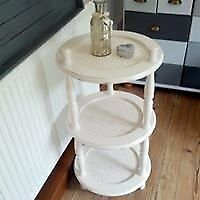 3 tier table used for lamp / light, candles , coffee etc. Vintage, shabby chic look .Antique white