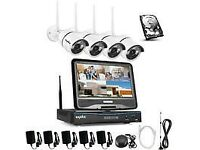 NEW SANNCE 720P 4CH HD Wireless NVR CCTV Camera System Build-in 10.1 LCD Monitor