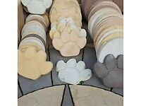 stepping stones paw prints patio paving log effect & leaf