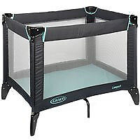 Graco compact travel cot / playpen blue grey liquorice
