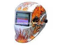 New welding helmet silver skull free gloves