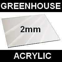 CLEAR 2mm GREENHOUSE ACRYLIC PERSPEX GLASS 610 x 610mm