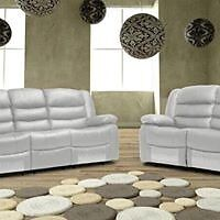 Rymana Luxury Bonded Leather Recliner Sofa Set With Pull Down Drink Holder