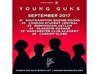 2 x Young Guns tickets - Friday 22nd Sept