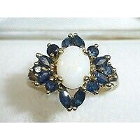 Stunning Assay Hallmarked Birmingham 375 Gold Large Sapphire & Opal Ring Size P
