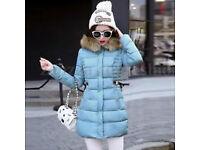 New - Women winter hooded parka long faux fur collar coat - blue, UK size 8 - 10