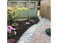 Garden redesign and hard landscaping inc. driveways/paths/patios, shelters/sheds and fencing