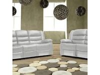 Rianna Luxury Bonded LEather Recliner Sofa Set with Pull Down Drink Holder