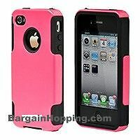 Dual Guard PC+Silicone Case for iPhone 4/ 4S Pink or Black