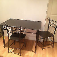 Table & 4 chairs black