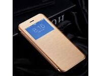 Luxury PU Leather Ultra-thin Flip Case Cover (Colour- Gold ) For Apple iPhone 7 7 Plus 5s 6 6s